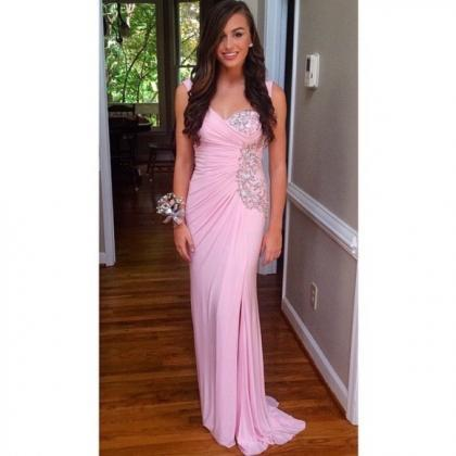 Sexy Pink Prom Dress,Rhinestones Cr..