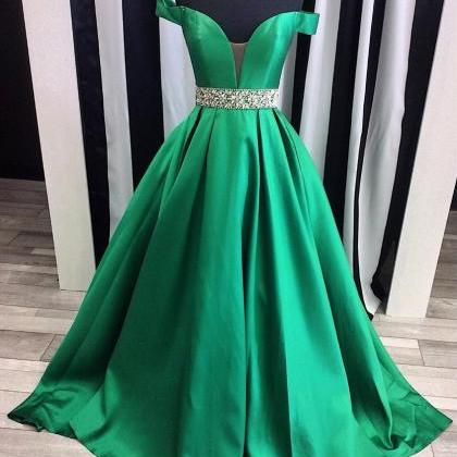Green Dress , Formal Dress , Shiny ..