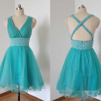 Blue Homecoming Dress,Straps Prom D..