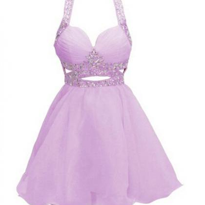 Pearl Pink Homecoming Dress,Sexy Ba..