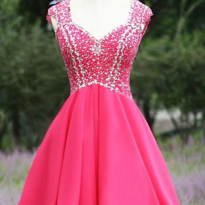Pretty Rosy Homecoming Dress,Chiffo..