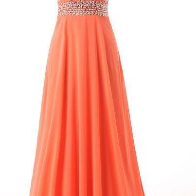 Coral Empire Beading Prom Dress, Wa..