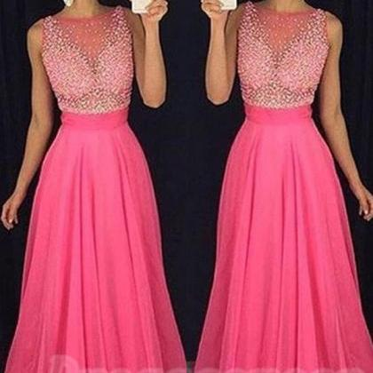 Hot Pink Long Chiffon Prom Dresses,..