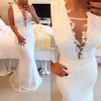 Pure White Prom Dresses Sexy Prom D..