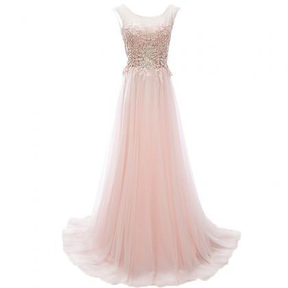 Pink Lace Prom Dresses,Sleeveless P..