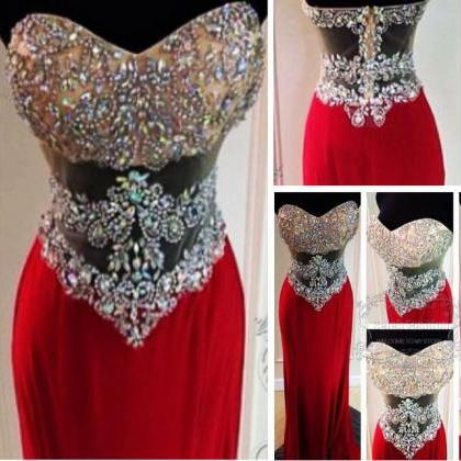 Beaded Prom Dress, Sparkling Red Lo..