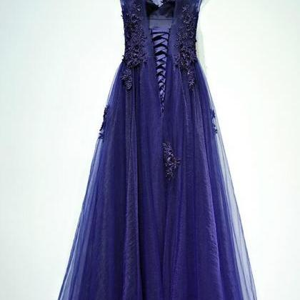 Charming Navy Blue Long Tulle Prom ..