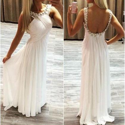 White prom dress,chiffion prom dres..