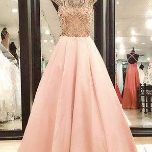 A-line Cap Sleeves Beaded Prom Dres..