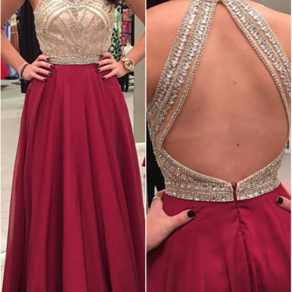 Beaded Bodice Burgundy Prom Dresses..
