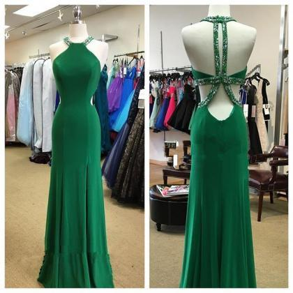 Halter Prom Dress,Backless Prom Dre..