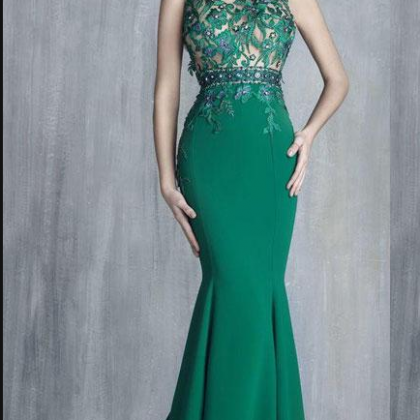 Tony Chaaya Green Mermaid Prom Dres..