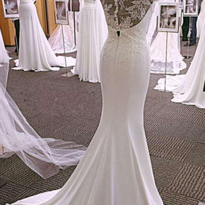 Modest Lace Cap Sleeves Wedding Dre..