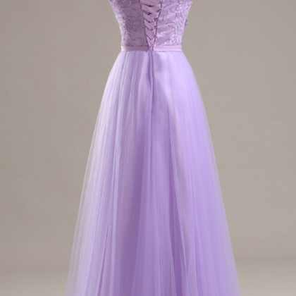 Light Purple tulle Prom Dresses Cap..