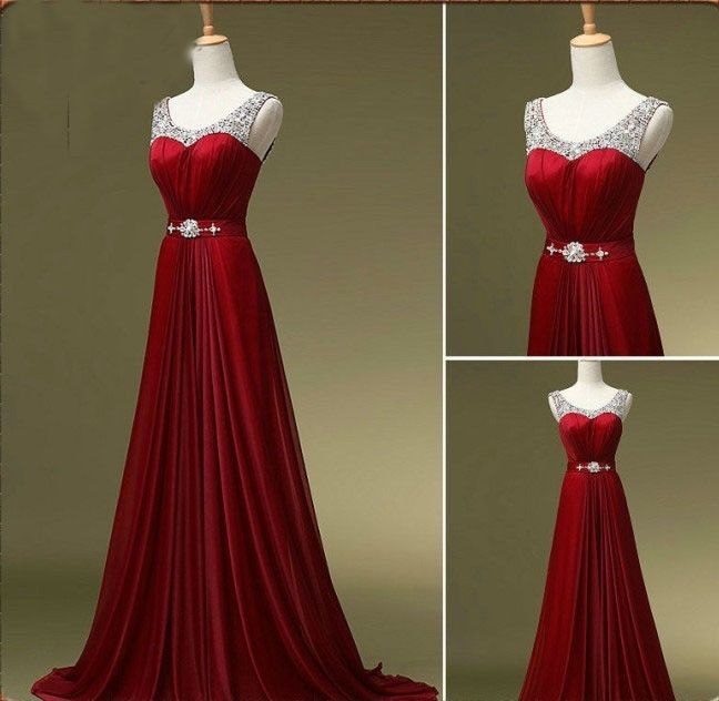 Beaded Adorned Red Scoop Neck Sleeveless Floor Length A-Line Formal Dress, Prom Dress