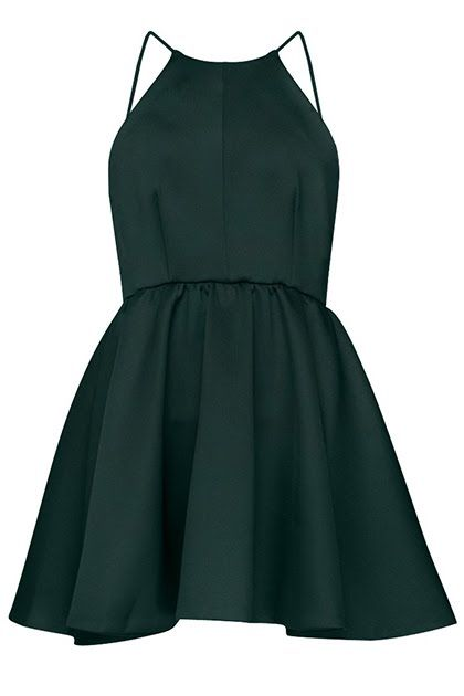 Forest Green Minimal Halter Neck Short A-Line Dress