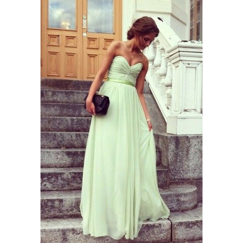 Mint Sweetheart Prom Dress,Ruched Chiffon Long Evening Dresses Formal Dress Prom Dresses Evening Gowns