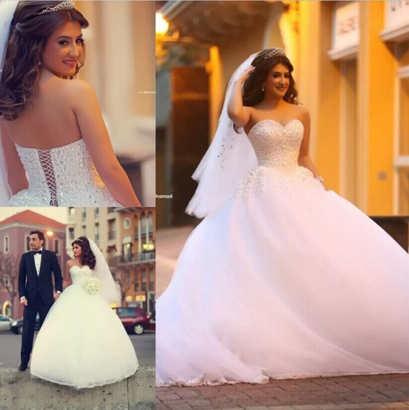 Ball Gown Wedding Dresses Sweetheart Sleeveless Wedding Dress Lace