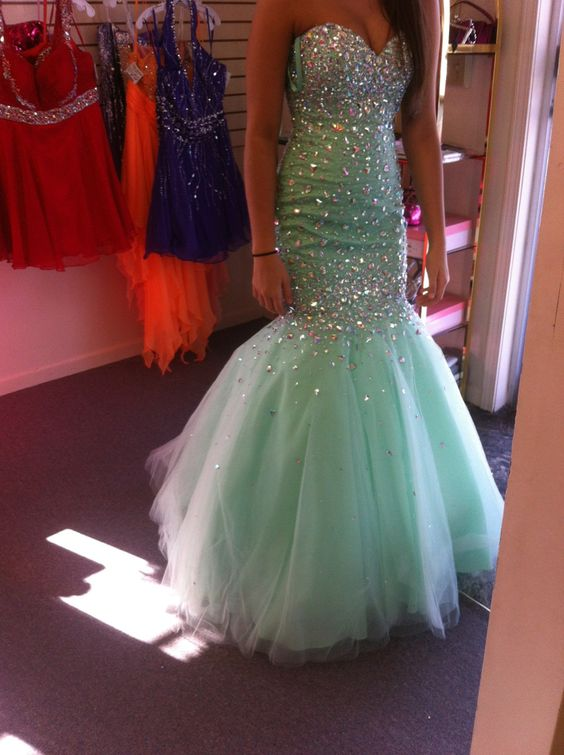 dcfbeb67c9 Mermaid Light Green Beads Prom Dress