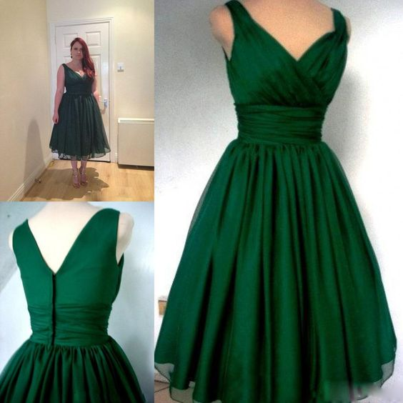 2116a0dc19e Emerald Green Cocktail Dress Vintage Tea Length Plus Size Chiffon Overlay  Elegant Cocktail party Dress