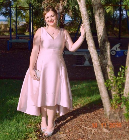 Simple Plus Size Prom Dress,V-neck Party Dress,hi-low Light Pink Plus Size  Graduation Dress