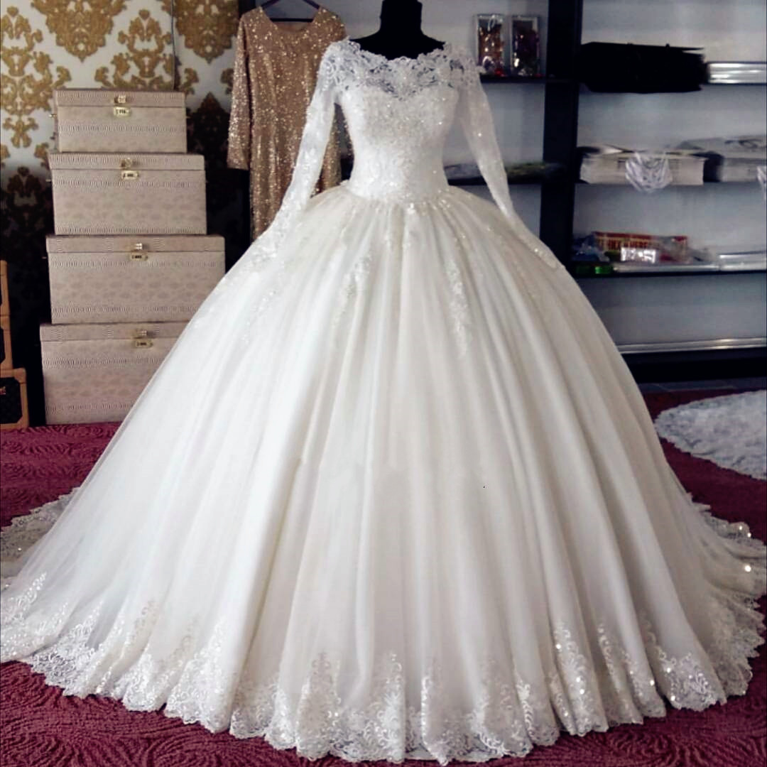 Sheer Long-Sleeved Lace Appliqué Princess Ball Gown, Wedding Dress ...