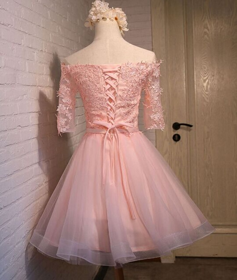 Long sleeve Homecoming dresses, Pink Lace Prom dresses, Off Shoulder Party dresses,Elegant Homecoming dresses, Custom prom dresses