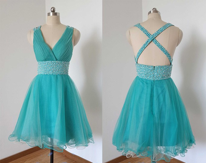 Blue Homecoming Dress,Straps Prom Dresses,Tulle Homecoming Gowns,Open Back Short Prom Gown