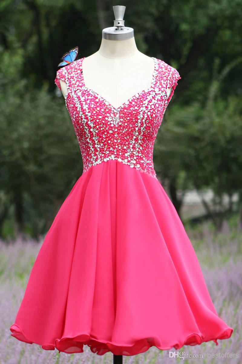 Pretty Rosy Homecoming Dress,Chiffon Homecoming Dresses,Short Beading Prom Dress,Sexy Open Back Evening Dress