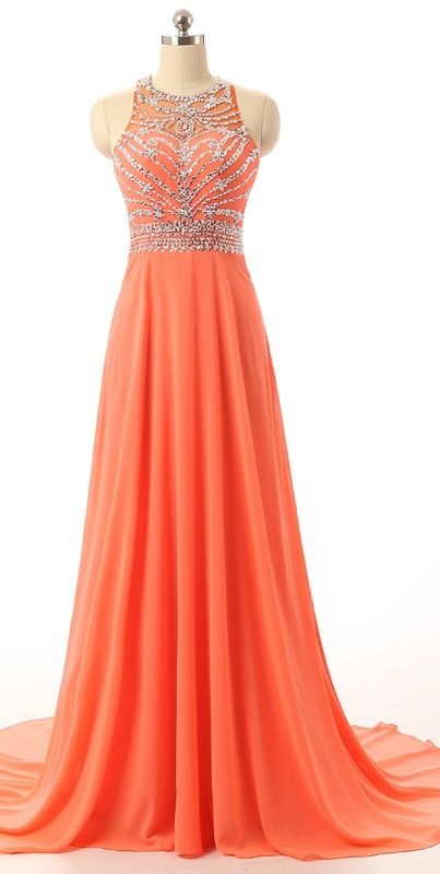 Coral Empire Beading Prom Dress, Waist Long Chiffon Evening Dress, Sleeveless Prom Dresses