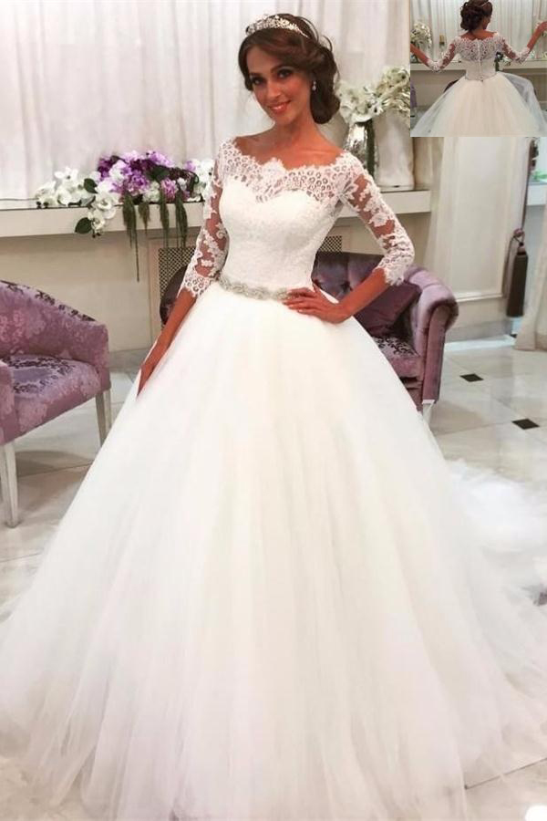 Modest Wedding Dress.White Wedding Dress Wedidng Dresses With Sleeves Lace Tulle Wedding Gowns Modest Bridal Gowns A Line Bridal Gowns