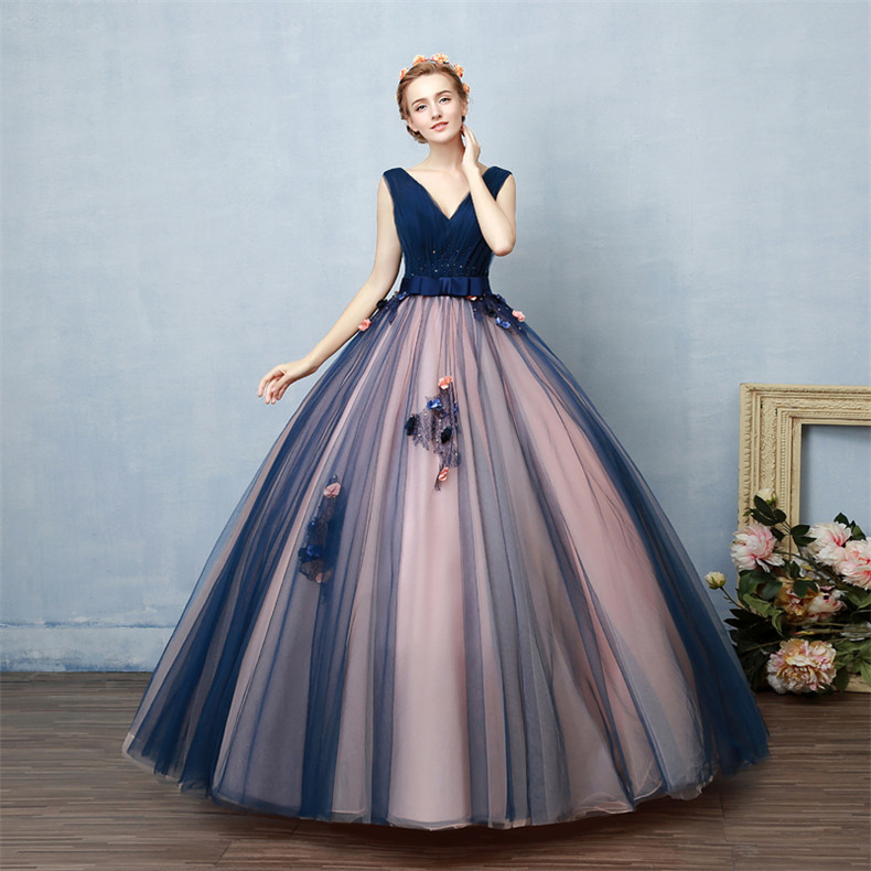 Navy Blue And Pink Prom Dress,Ball Gowns Prom Dresses,Princess Prom ...