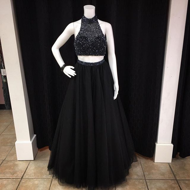 Black Prom Dress,Two Pieces Prom Dresses,Prom Dress,Prom Dresses For Teens,Sparkly Prom Gowns,Beautiful Party Dresses,Charming A-line Women Dresses