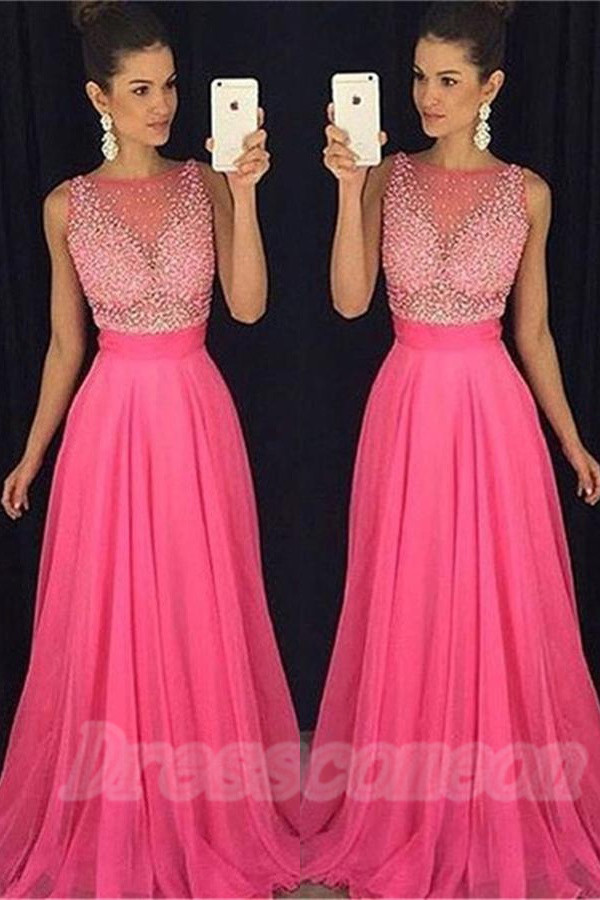 Hot Pink Long Chiffon Prom Dresses,Princess Beading Prom Gowns,High Low Evening Dresses,Wedding Party Dresses