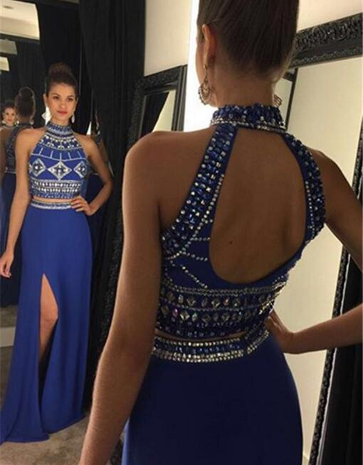 Two Pieces Long Halter Prom Dresses,Chraming Prom Gowns,Formal Evening Dresses,Sparkly Prom Gowns