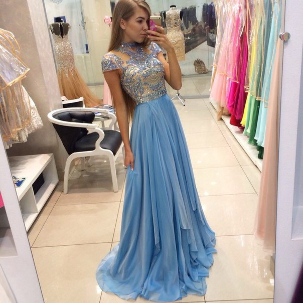 Sparkly Long Chiffon Prom Dresses,Light Sky Blue Beading Prom Dress ...