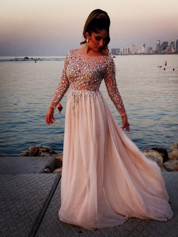 Classy Long Beading Pretty Prom Dresses,Simple Cheap Prom Gowns For ...