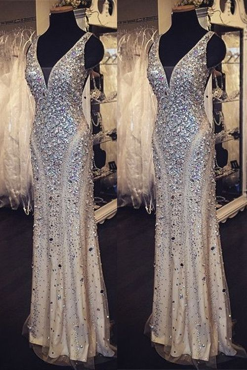 Sequin Shiny Long Beading Prom Dresses,V-neck Prom Dress, Prom ...
