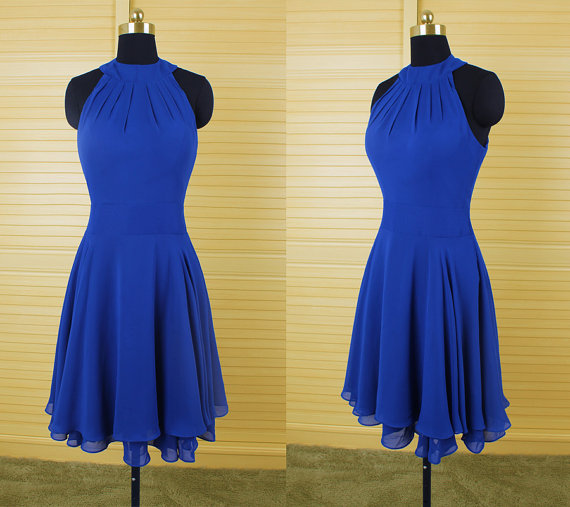 Handmade Elegant Simple Royal Blue Chiffon Homecomng Dresses For Teens