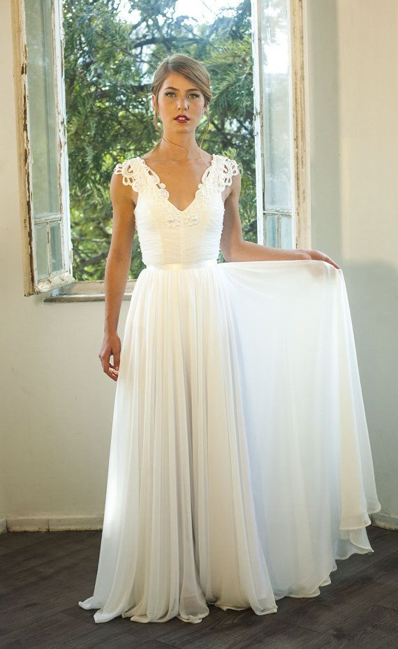 Sleeveless V-Neck Ruched Chiffon A-line Floor-Length Wedding Dress