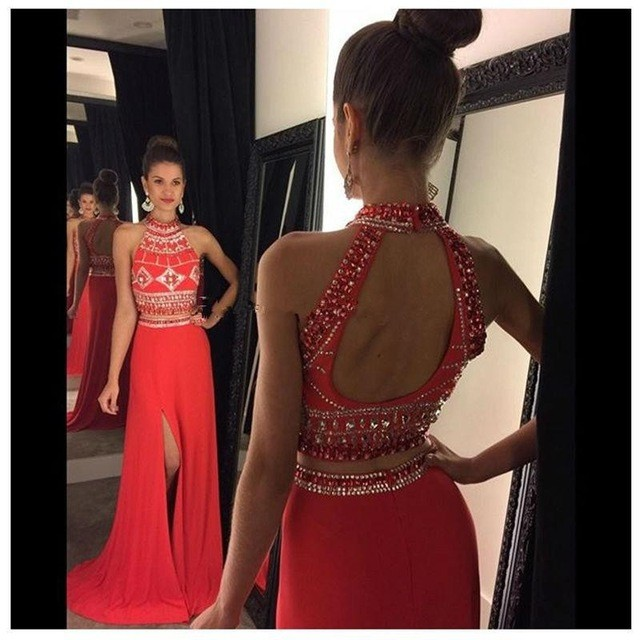 967ff2c53a29 Formal Dresses Prom Dress Red Two Piece Prom Dresses High Neck Beaded 2  Piece Prom Dress