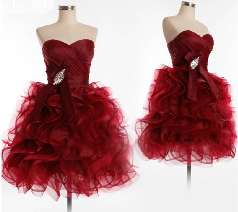 06c098e81dde Burgundy Maroon Scarlet Formal Dress Prom Dress short ball gown puffy  Homecoming Dresses