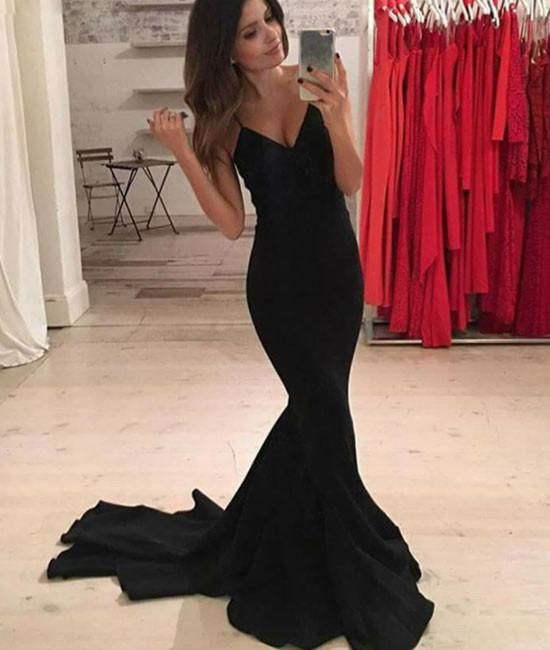 Simple Black Formal Dressesmermaid Long Prom Dress Black Evening