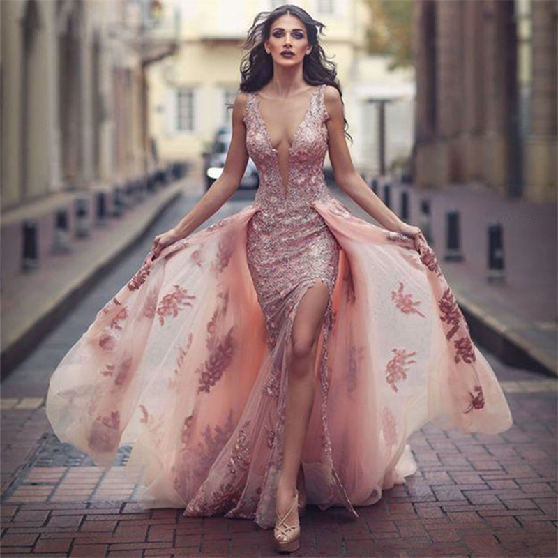 V-neck Amazing Formal Dress,Pink Formal Dresses,Over Skirt Front ...