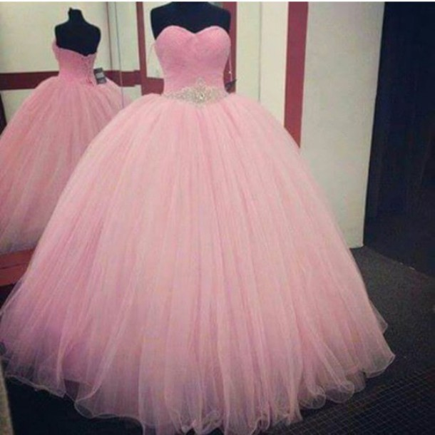 Pink Prom Dress,Ball Gown Prom Dress,Princess Prom Gown,Beaded Prom ...
