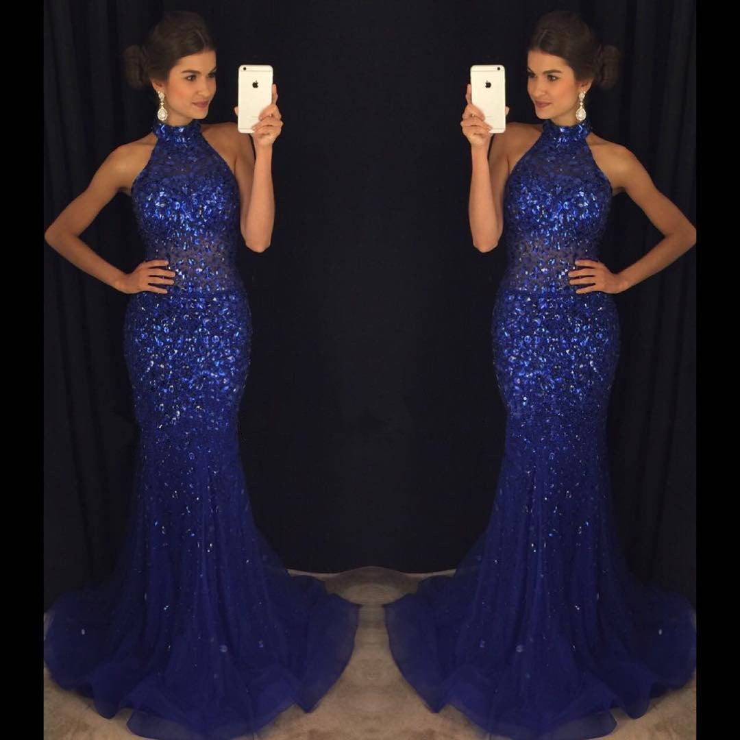 Custom Made Royal Blue Chiffon Prom Dress 8e140ed0f