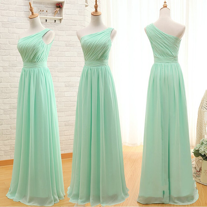 fc0eaa903061c Floor Length One Shoulder Mint Green Bridesmaid Dress on Luulla