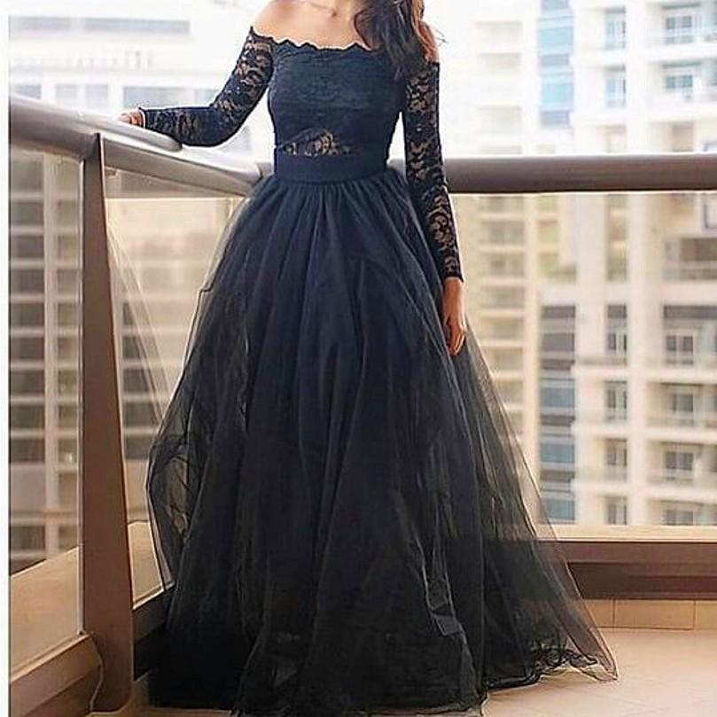 Sexy Evening Gownsmodern Off The Shoulder Prom Dressesblack Prom