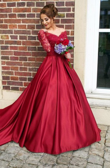 09bef60f0e1 Wine Red Off The Shoulder Long Sleeves Satin Ball Gown with Sweep Train  Prom Dress
