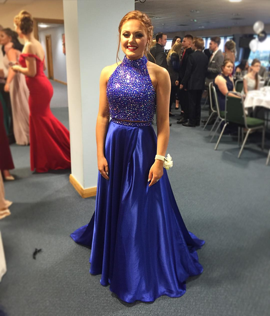 9ed8966c80f Navy Blue 2 Piece Halter Neck Sequin Beaded A-Line Prom Dress ...